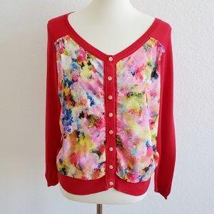 HWR Anthro Red Floral Button Down Cardigan Medium